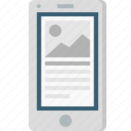 blog, browser, content, layout, mobile, photo, wireframe icon