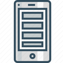 application, browser, grid, horizonatal, mobile layout, webpage, wireframe icon