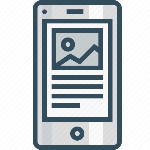 blog, browser, content, mobile layout, page, photo, wireframe icon