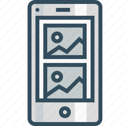 blog, browser, layout, mobile, page, photo, wireframe icon