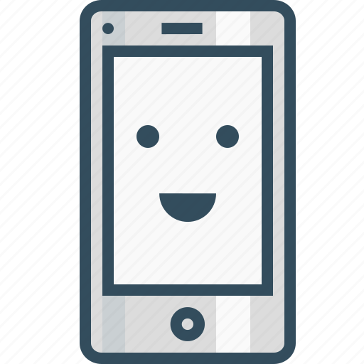 emoji, happy, layout, mobile, smiley, success icon