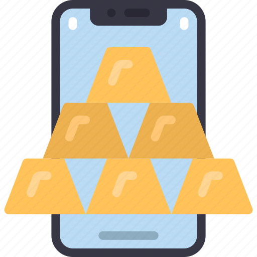Mobile, gold, bars, cell, iphone, device, bullions icon - Download on Iconfinder