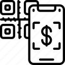 qr, code, payment, cell, iphone, device, scan