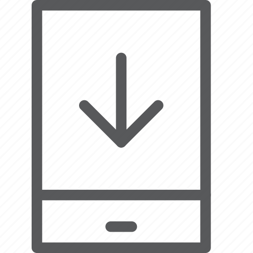 arrow, communication, device, download, mobile, phone, portrait, smartphone icon