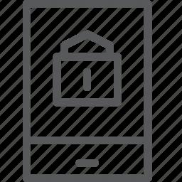 call, communication, device, lock, mobile, phone, portrait, smartphone icon