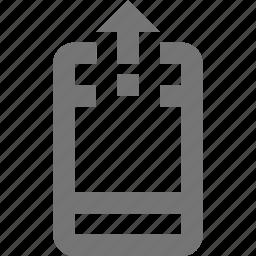 arrow, phone, smartphone, telephone, up, upload icon