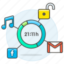 apps, time, battery, phone, smartphone, consumption, mobile, usage, app, remaining, schedule icon