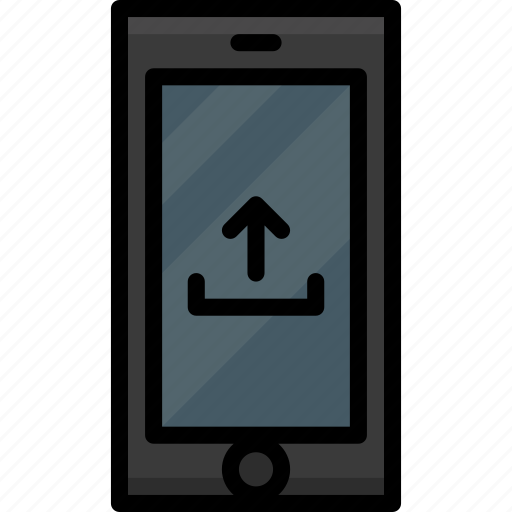 cell, colour, functions, mobile, phone, upload icon