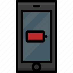 battery, cell, colour, functions, low, mobile, phone icon