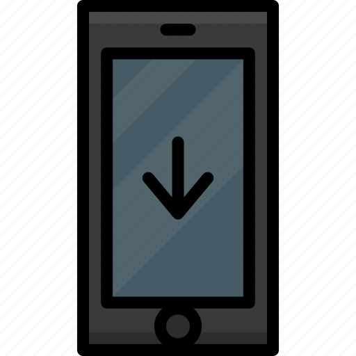 cell, colour, down, functions, mobile, phone icon