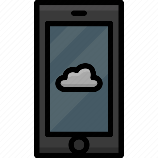 cell, cloud, colour, functions, mobile, phone icon