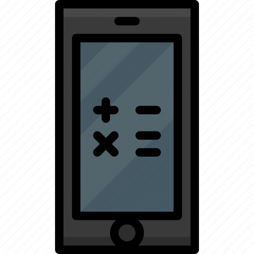 calculator, cell, colour, functions, mobile, phone icon