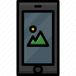 cell, colour, functions, gallery, mobile, phone icon