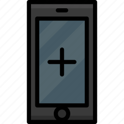 add, cell, colour, functions, mobile, phone icon
