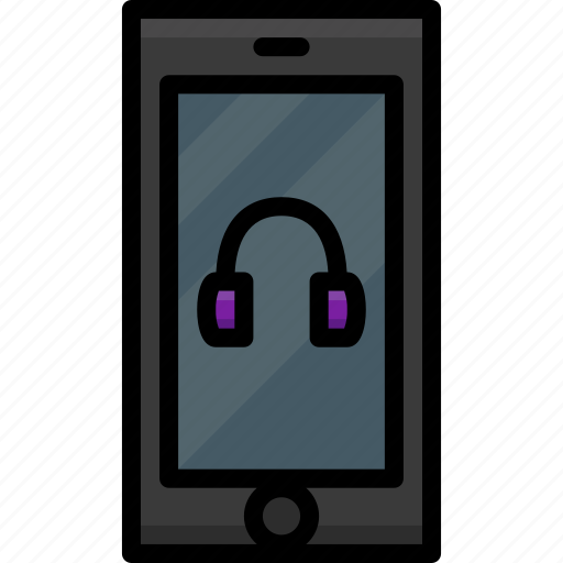 cell, colour, functions, headphones, mobile, phone icon