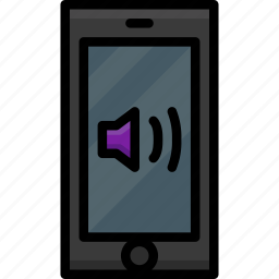 cell, colour, functions, mobile, phone, sound, volume icon