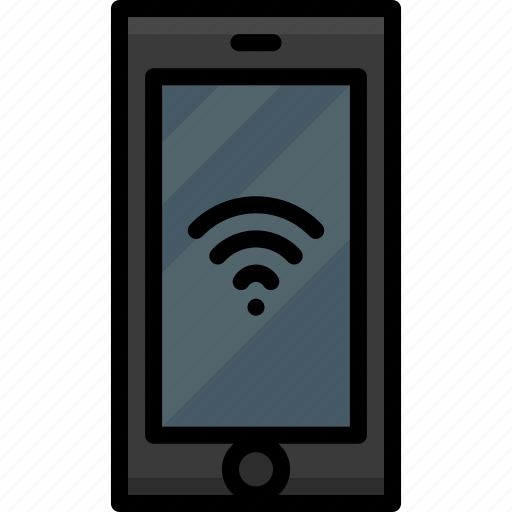 cell, colour, connection, functions, mobile, phone, wifi icon