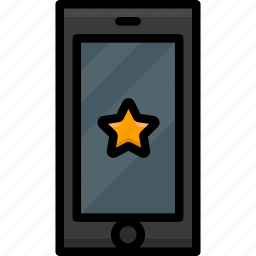 cell, colour, favourite, functions, mobile, phone icon