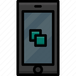 cell, colour, copy, functions, mobile, phone icon