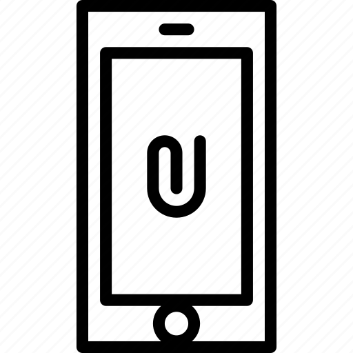 attachment, cell, clip, functions, moble, outline, phone icon