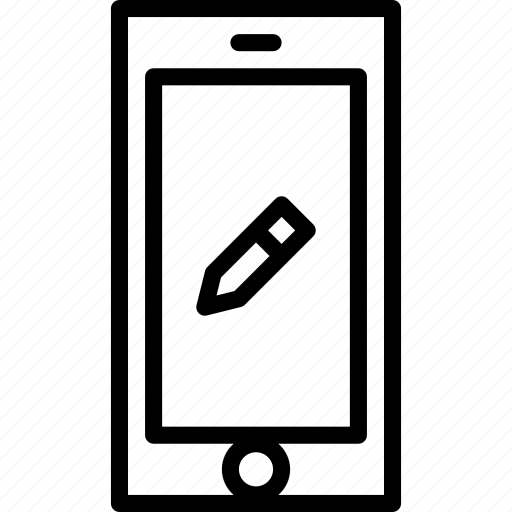 cell, edit, functions, mobile, outline, phone icon