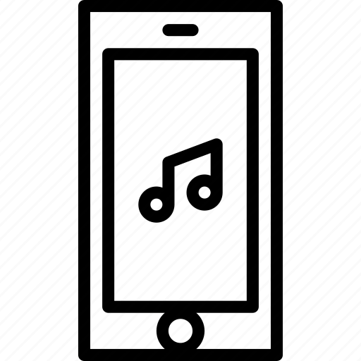 cell, functions, mobile, music, outline, phone, songs icon