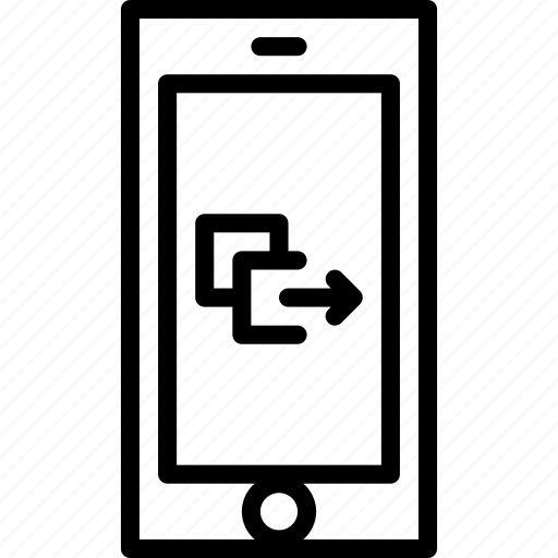 cell, functions, mobile, outline, paste, phone icon