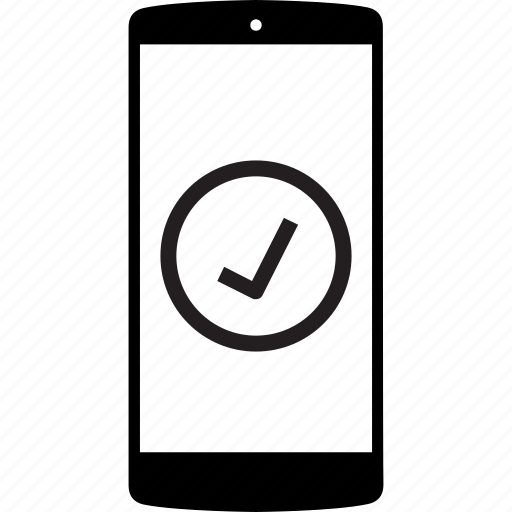 check, correct, mobile, mobile phone, phone icon
