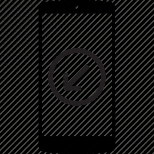 left, left arrow, mobile, mobile phone, phone icon