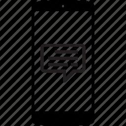 mobile, mobile phone, phone, speech, speech bubble icon