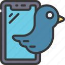 tweeting, bird, device, social, media