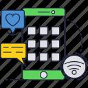 app, like, mobile, phone, screen, smartphone