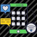 app, like, message, mobile, phone, screen, smartphone