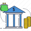 bank, building, finance, investment, money icon