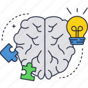 brain, bulb, idea, light, puzzle, solution icon
