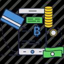 bitcoin, crypto, digital, mobile, money, online, smatphone