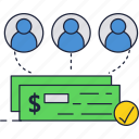 bank, check, investment, money, payment, people icon
