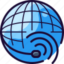 call, global, planet, service, support icon