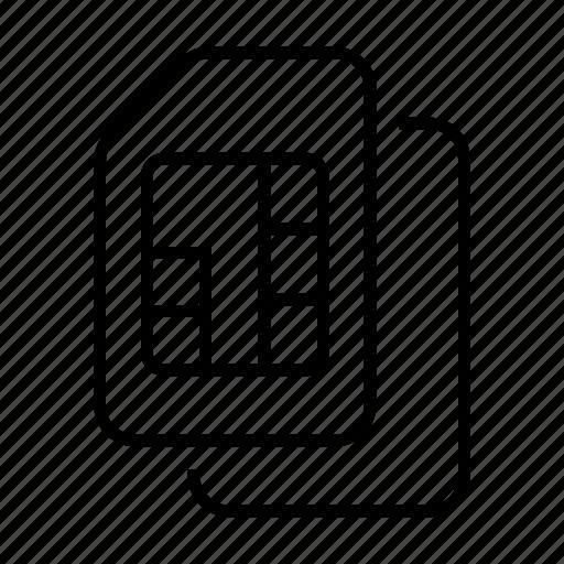 card, dual, mobile, phone, signal, sim icon