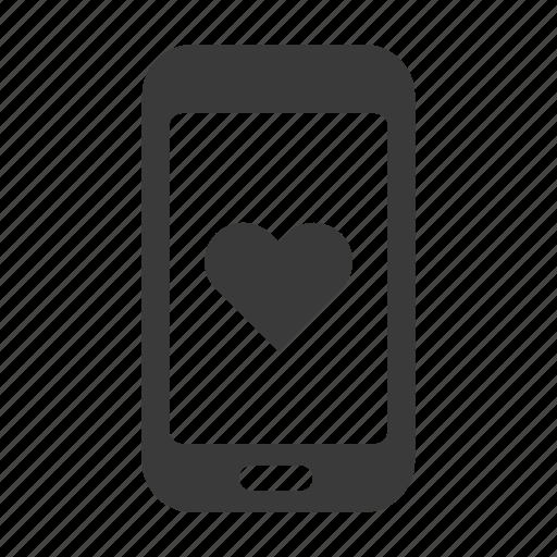 favourite, health, heart, like, love, mobile, phone icon
