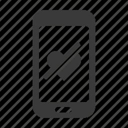 dislike, hate, health, heart, love, mobile, phone icon