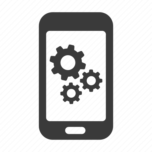 cogs, gears, mobile, options, phone, settings icon
