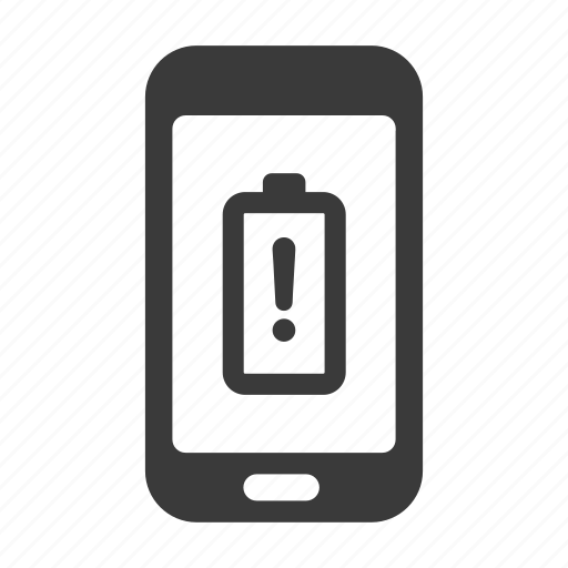 battery, charge, empty, mobile, phone, smartphone, warning icon