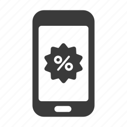 discount, mobile, percent, phone, sale, shopping, smartphone icon