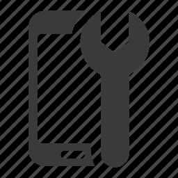 configure, mobile, phone, repair, service, smartphone, wrench icon