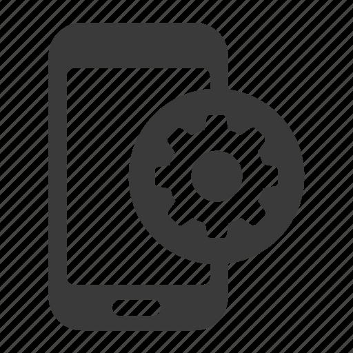 cog, gear, mobile, phone, repair, settings, smartphone icon