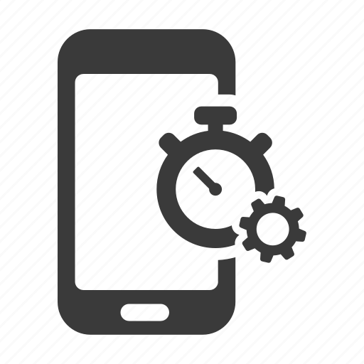 cog, gear, mobile, phone, settings, smartphone, time icon