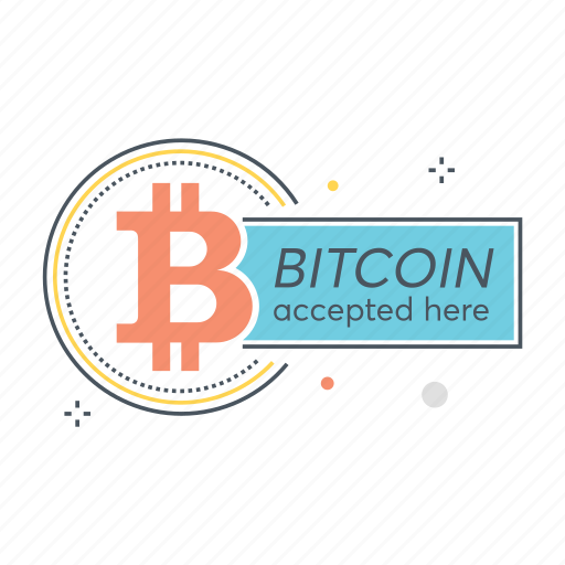 accepted, bitcoin, blockchain, crypto, cryptocurrency, here, payment icon