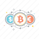 bitcoin, currency, dollar, euro, exchange, payment, transfer icon