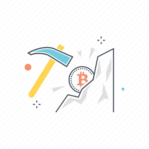 bitcoin, blockchain, coin, cryptocurrency, mining, pickaxe icon